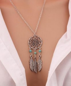 Silver CHARMING DREAM CATCHER NECKLACE image