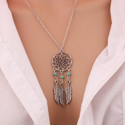 silver-charming-dream-catcher-necklace-image