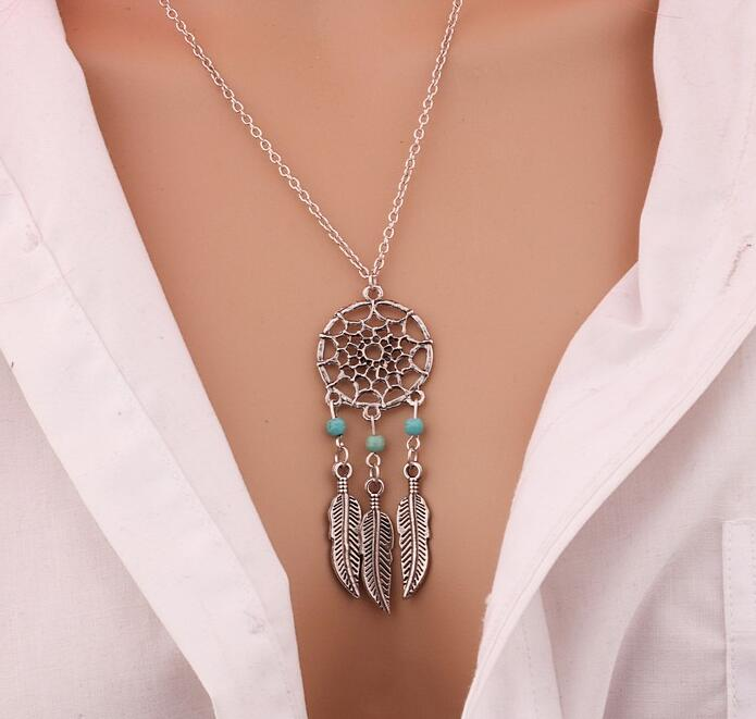silver dreamcatcher pendant necklace