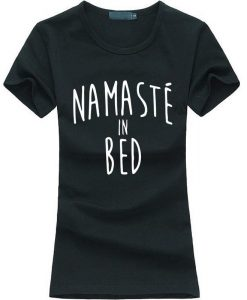 Namastay in Bed women yoga t-shirt black image