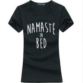 Namastay in Bed women yoga t-shirt black image