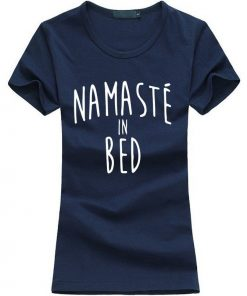 Namastay in Bed women yoga t-shirt blue image