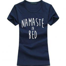 Namastay in Bed women yoga t-shirt blue image