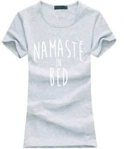 Namastay in Bed women yoga t-shirt grey image