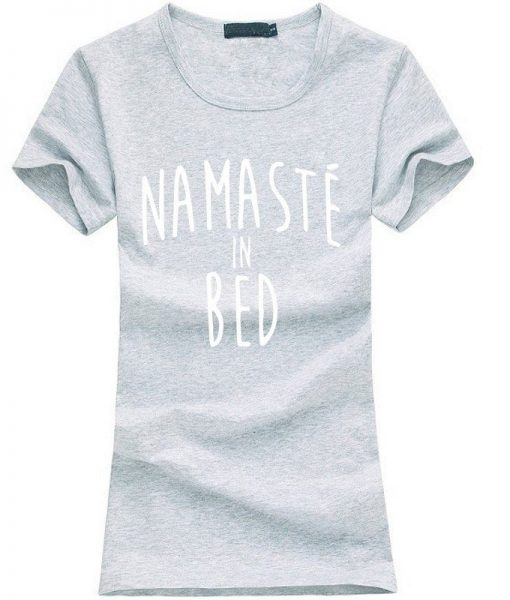 Namastay in Bed women yoga t-shirt grey image