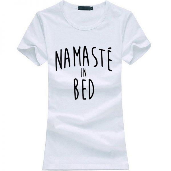 Namastay in Bed women yoga t-shirt white image