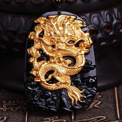 obsidian gold dragon pendant necklace