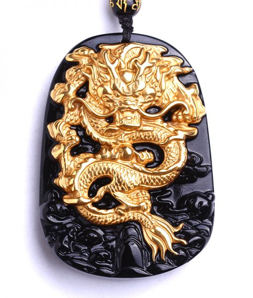 Gold Plated Dragon Carved Obsidian Necklace image