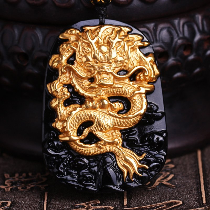 Gold Plated Dragon Carved Obsidian Necklace