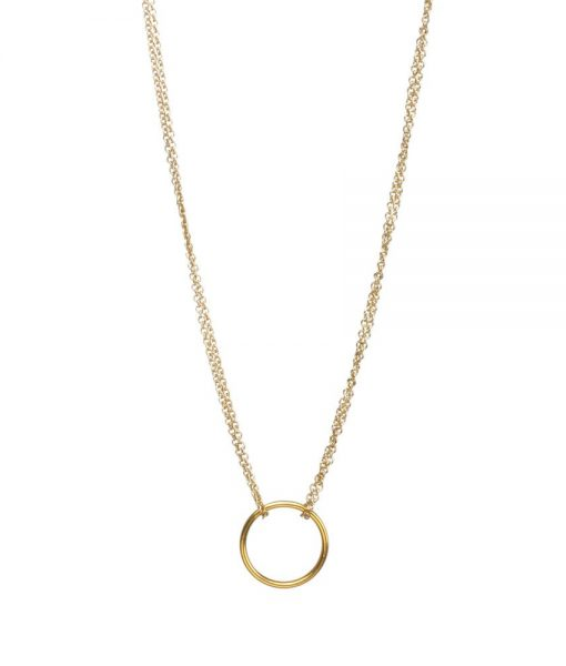 gold double chain karma circle pendant necklace no card