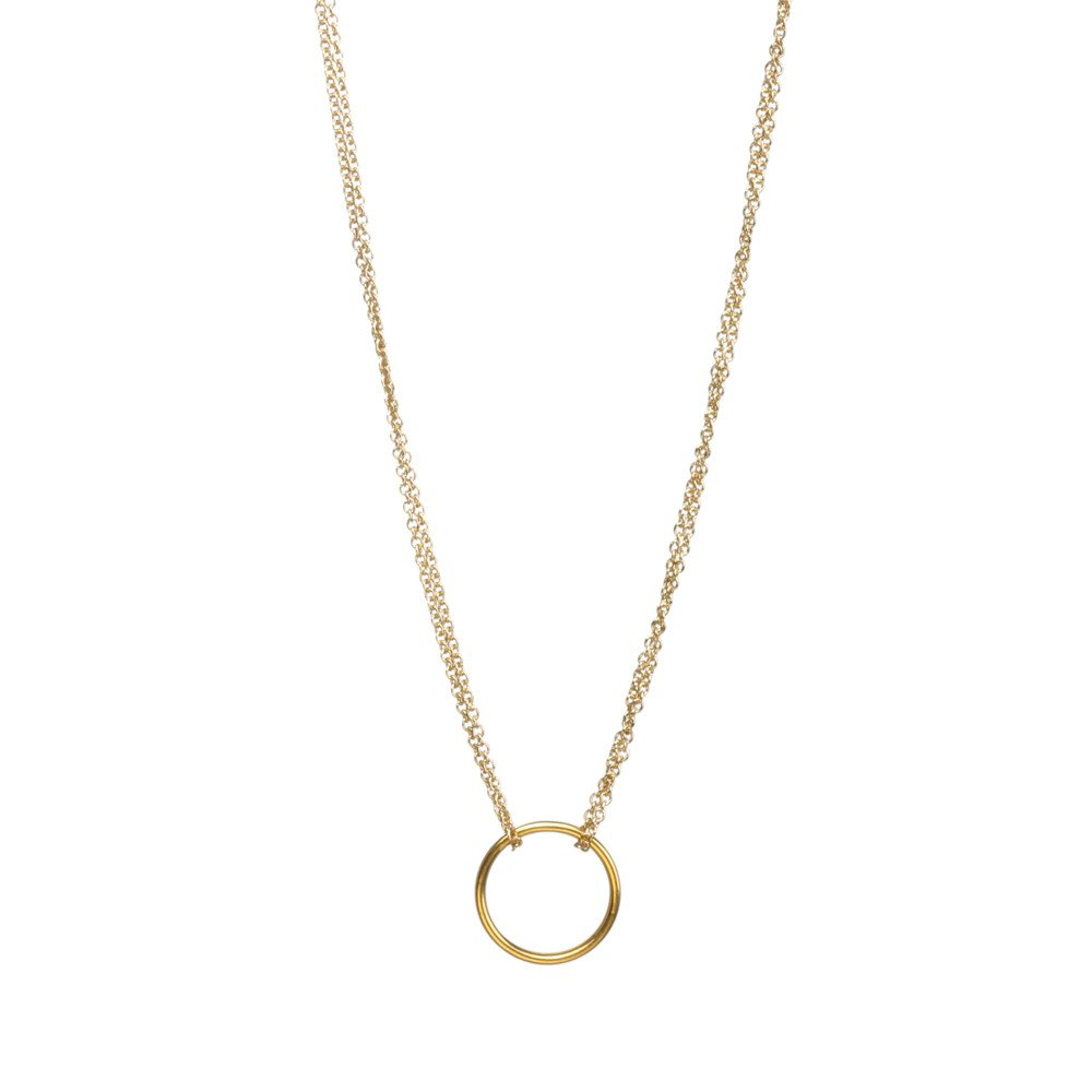 Double chain karma circle pendant necklace the yoga mandala store gold double chain karma circle pendant necklace no card aloadofball Image collections