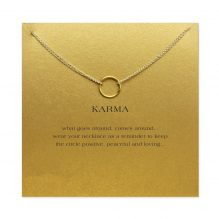 gold double chain karma circle pendant necklace with card