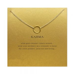gold karma circle pendant necklace with card