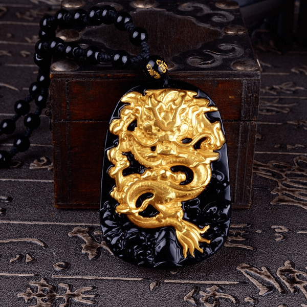 gold-plated-dragon-carved-obsidian-necklace-image