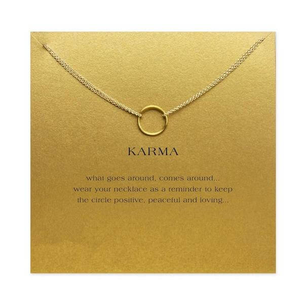 Double Chain Karma Circle Pendant Necklace