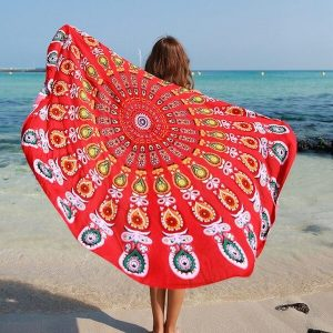 Red Peacock Beach Blanket