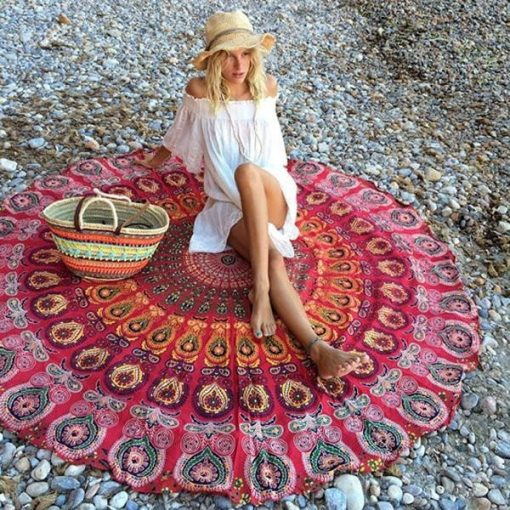 round mandala red beach yoga blanket for sale