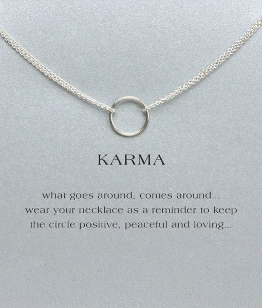 silver double chain karma circle pendant necklace with card
