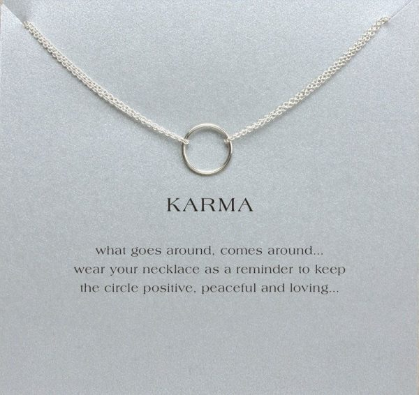silver double karma circle pendant necklace with card