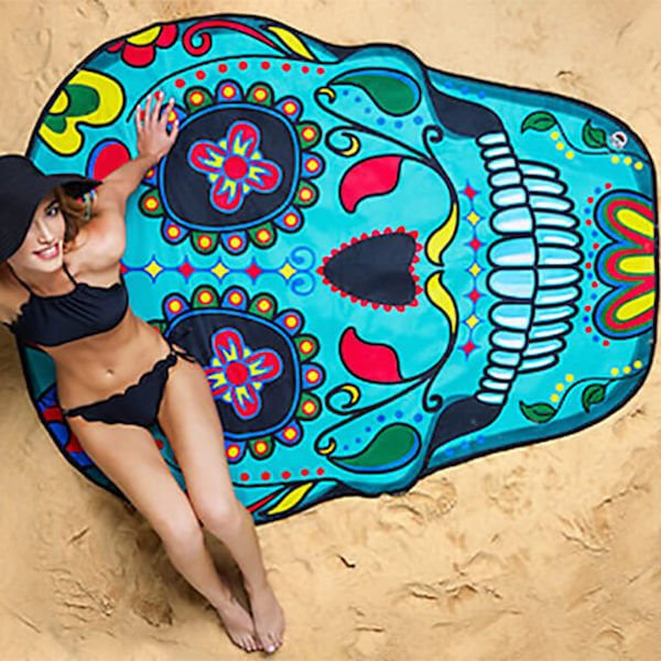 Gigantic Sugar Skull Beach Blanket