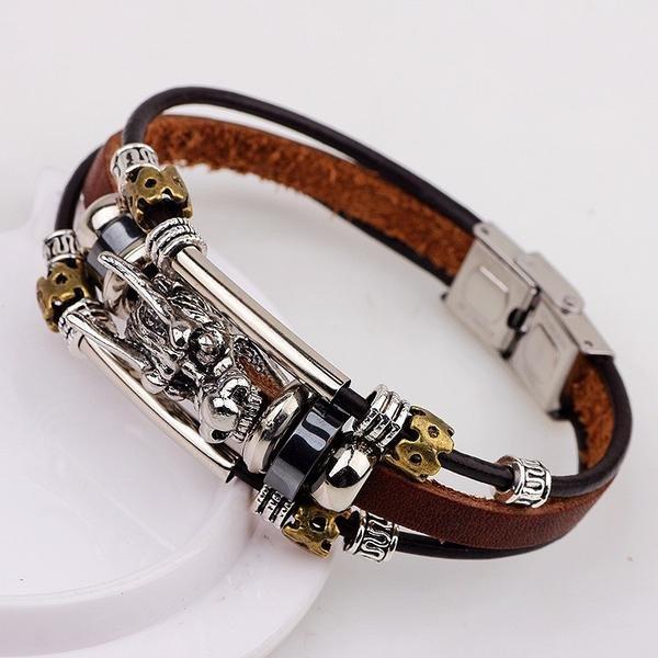 Leather Tibetan Dragon Bracelet