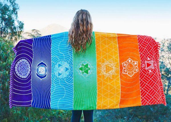 7 chakra mat beach towel