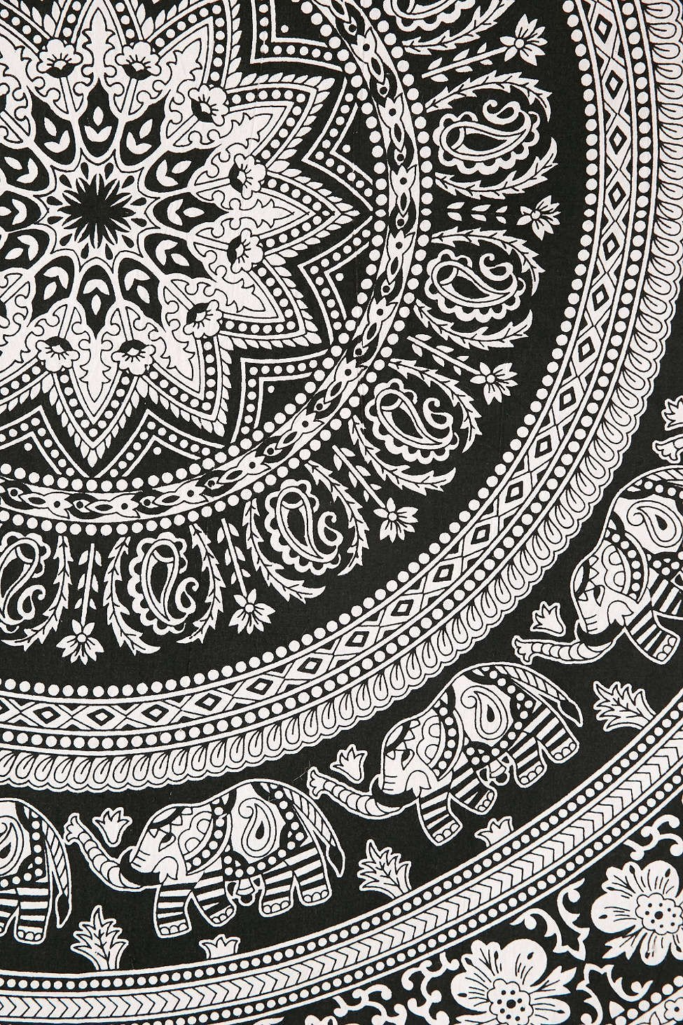 Magical Thinking Floral Elephant Tapestry Black And White