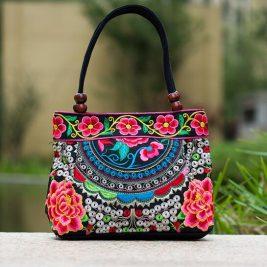 pink mandala flower shoulder handbag