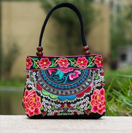 pink Boho Mandala Flower Shoulder Handbag