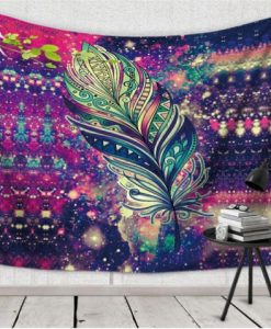 bohemian purple mandala tapestry feather