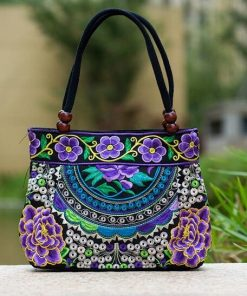 purple Boho Mandala Flower Shoulder Handbag