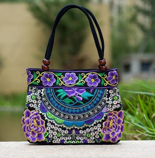 purple mandala flower shoulder handbag