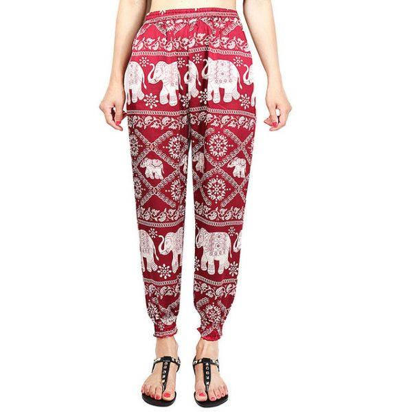 Red Elephant Boho Pants