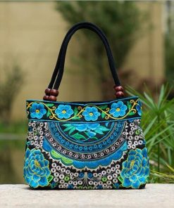 turquoise Boho Mandala Flower Shoulder Handbag