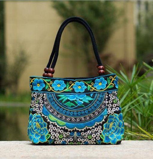 turquoise Boho Mandala Flower Shoulder Handbag