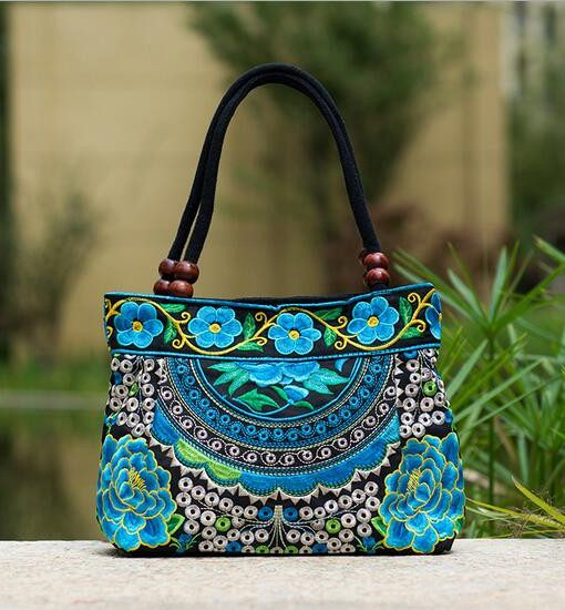 turquoise mandala flower shoulder handbag