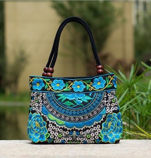 turquoise mandala flower shoulder handbag