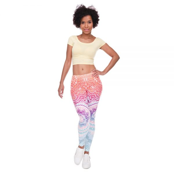 Mandala Orange And Purple Slim Printed Leggings