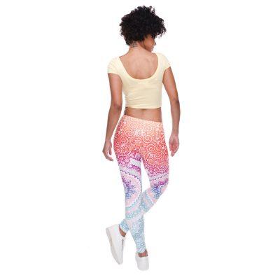 Mandala Orange And Purple Slim Printed Leggings