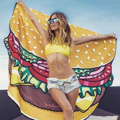 Burger Pizza Donut Beach Blanket