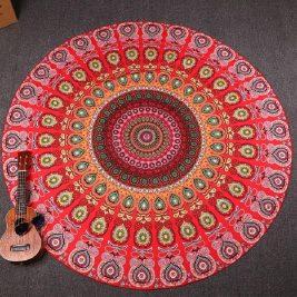 Mandala Thin Peacock Throw - Blanket red
