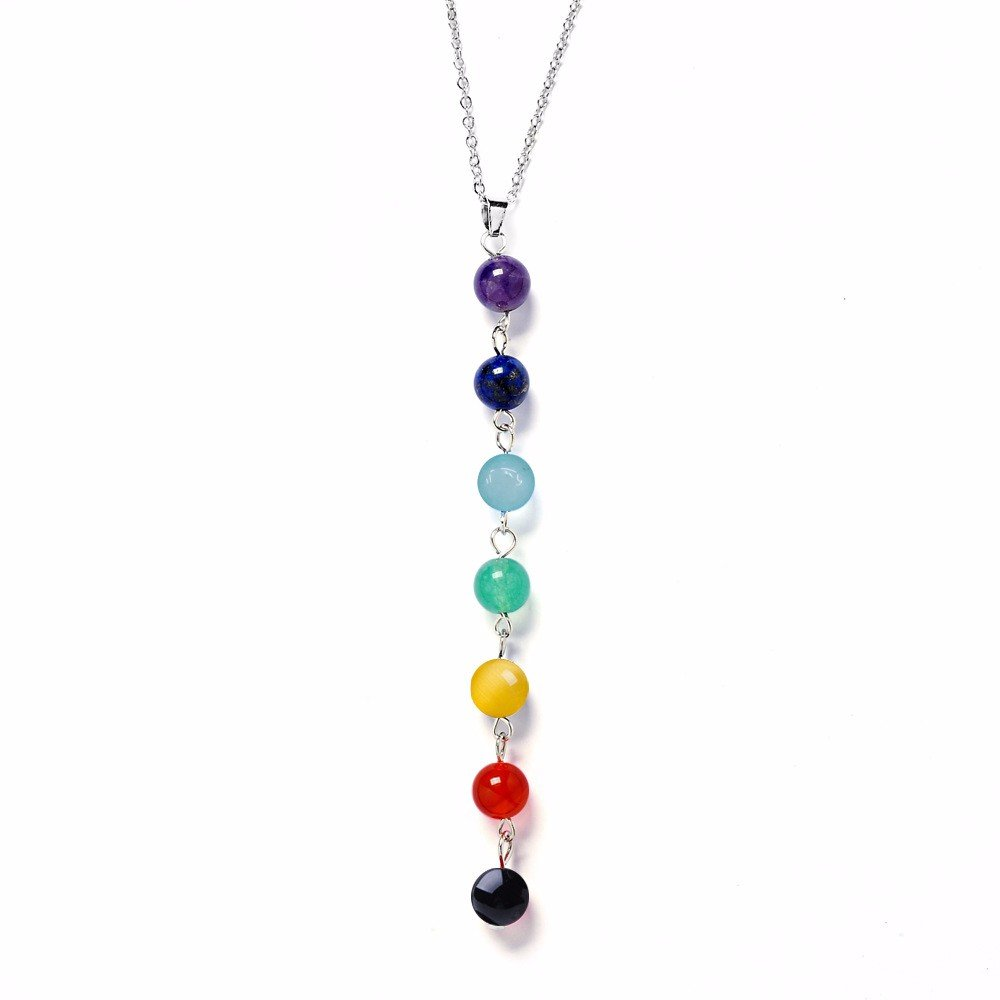 7 Chakra Gem Stone Beads Healing Necklace The Yoga