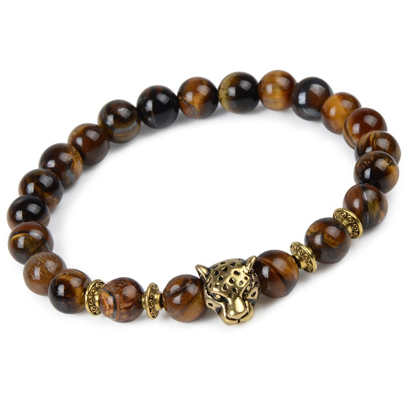 Animal Natural Stone Beads Bracelets Leopard