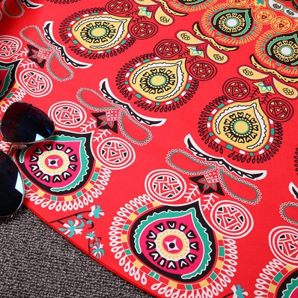 MULTIPURPOSE MANDALA THIN PEACOCK THROW/BLANKE red