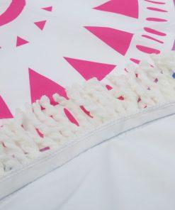 mandala Feathers Roundie Beach Blanket With Fringe
