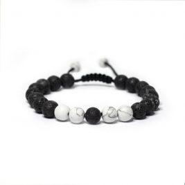 Adjustable White Howlite Lava Stone Bracelet