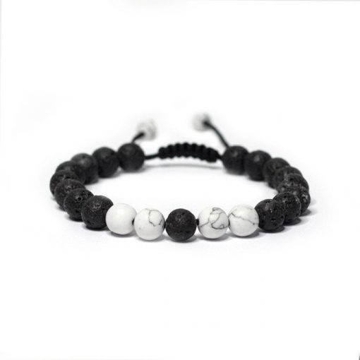 Adjustable White Howlite Lava Stone Bracelet