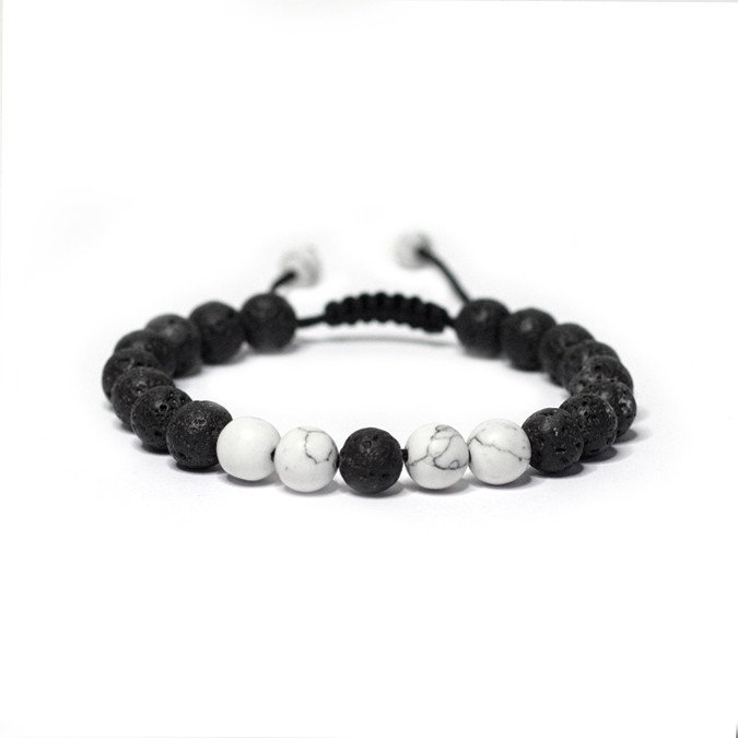 Adjustable White Howlite Lava Stone Bracelet The Yoga