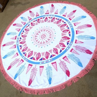boho Feathers Roundie Beach Blanket With Fringe