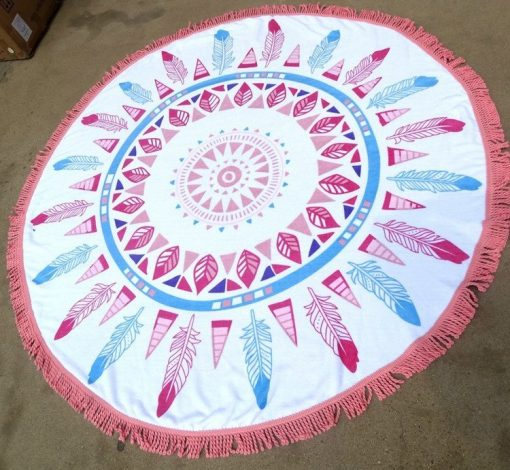 boho Feathers Roundie Beach Blanket With Fringe